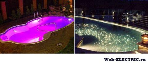 Освещение бассейна фото