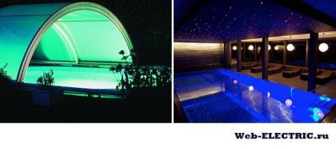 Линейные светильники для освещения бассейна