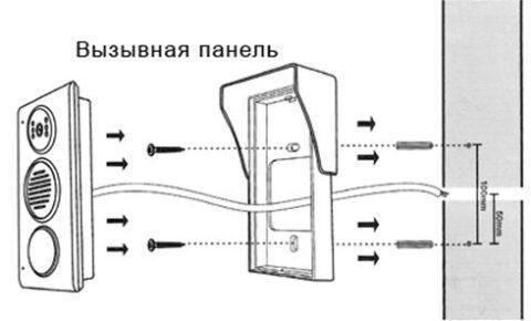 Крепление вызывной панели домофона