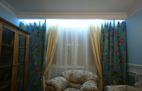 подсветка штор в нише