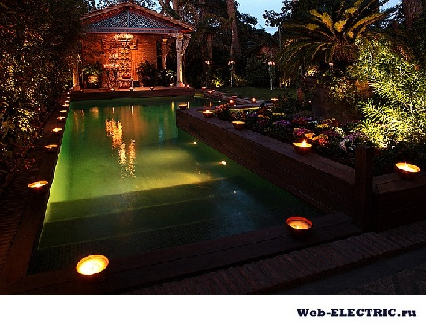 освещение для бассейна нормы