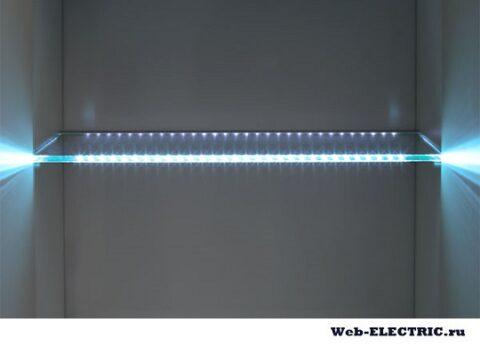 Освещение полки светодиодной лентой
