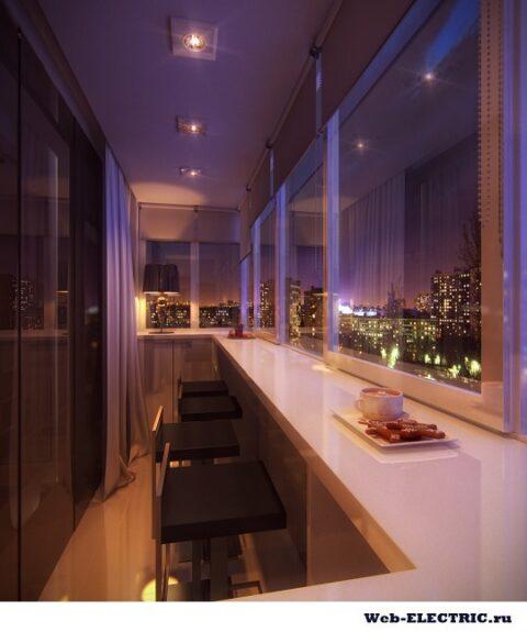 Освещение балкона дизайн