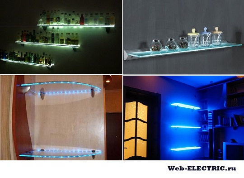 Освещение полок светодиодной лентой фото