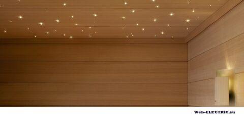Оптоволоконное освещение для бани фото