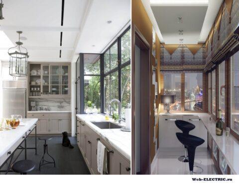 Дизайн освещения балкона из кухни