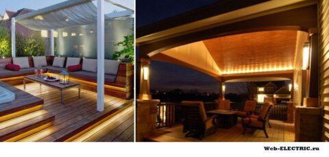 Освещение веранды на даче