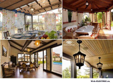 Свет на веранде в частном доме