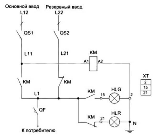 Схема АВР на контакторах