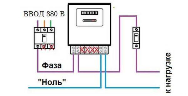 схема подключения трехфазного счетчика в однофазную сеть