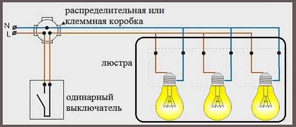 Схема подключения люстры к одинарному выключателю