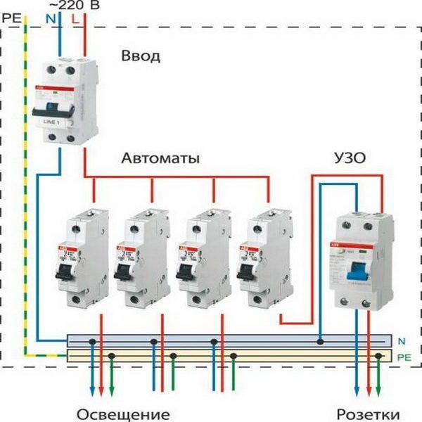 схема подключения автоматических выключателей 2