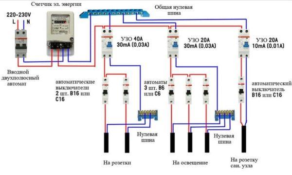 схема подключения автоматов в щитке 3