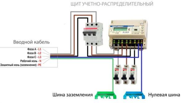 схема подключения трехполюсного вводного АВ